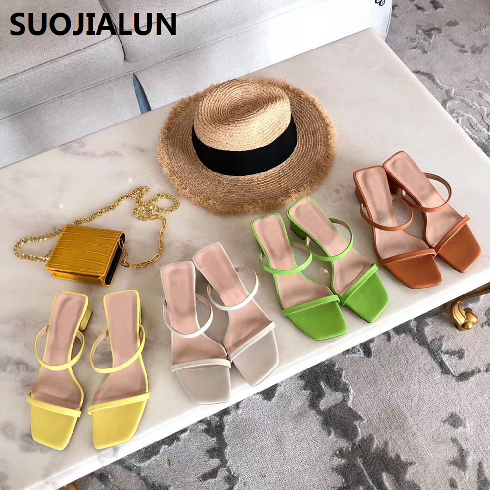 Women Sandals Slip On Square Heel Summer Slippers Casual Trendy Thin Strap Low Heels Elegant Shoes