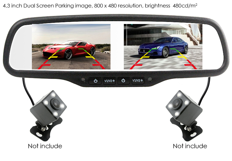 2 in 1 Car Rear View Backup Parking Camera with Monitor Night Vision 800*480 Dual Screen Car Interior Mirror Monitor Video Input