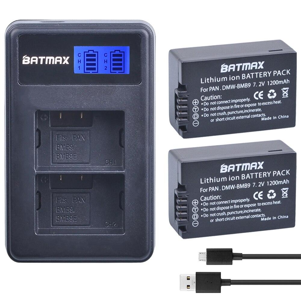 2pcs DMW BMB9 DMW BMB9E DMW BMB9 Battery LCD Dual Charger for Panasonic Lumix DMC FZ40K