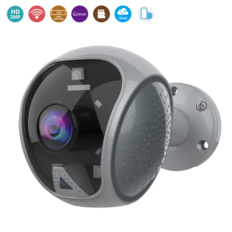 Outdoor Wifi Security Ip Camera 1080p CCTV Home Security 120 Degree Wide Angle Camera Video Surveillance Ir Led Flashing Alarm