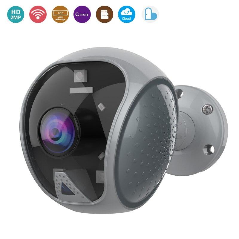 Extérieur Wifi sécurité Ip caméra 1080p CCTV sécurité à la maison 120 degrés grand Angle caméra vidéo Surveillance ir led clignotant alarme