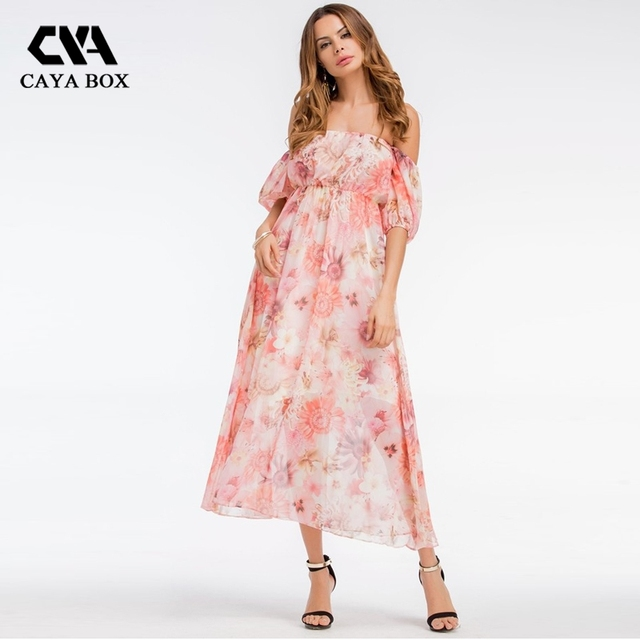 Caya box cut off shoulder strapless floral beach dress pink white caya box cut off shoulder strapless floral beach dress pink white flower print long loose summer mightylinksfo