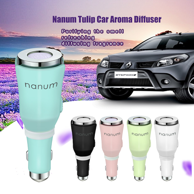 New Car Humidifier Nanum Aromatherapy Mat Diffuser Dual USB Car Charger Add Essential Oil Fragrance Sheet Purifying