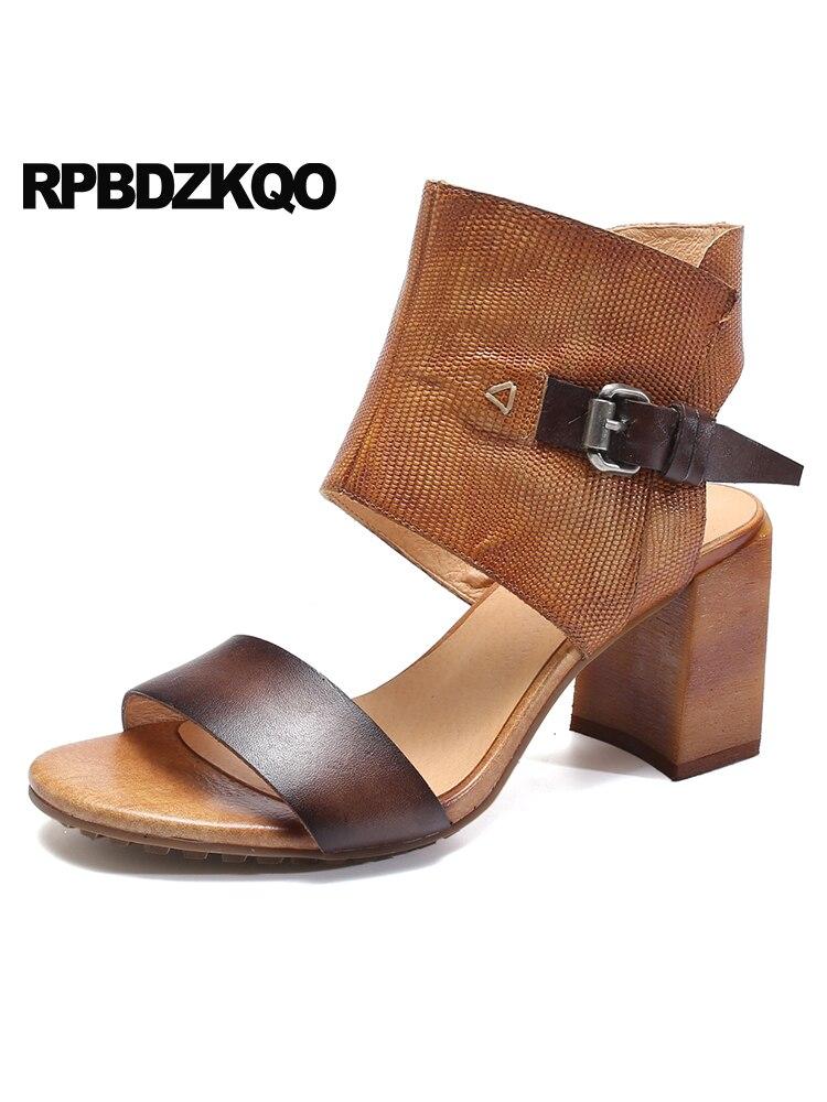 Boots Ladies Pumps High Heels Genuine Leather 2018 Open Toe Luxury Shoes Women Designer Booties Brown Sandals Thick Strap Block