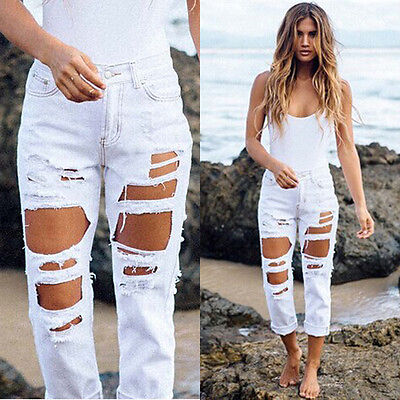 Pantalon jean denim de taille haute pour ...