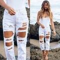 Jeans rasgados de Cintura Alta Jeans Para As Mulheres 2016 Mulheres Magras Calças Jeans Calças Lápis Preto Calças De Brim Femme