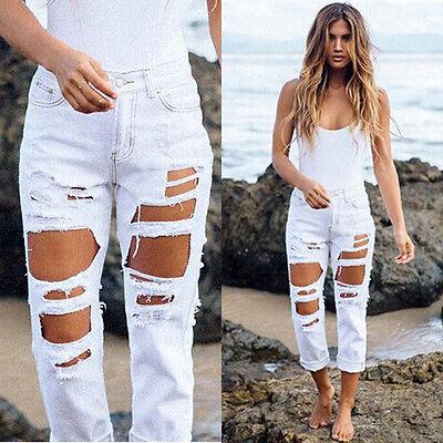 ripped Jeans High Waist Denim  Jeans For Women 2016 Black Pencil Jeans Femme Skinny Women Jeans Pants Trousers