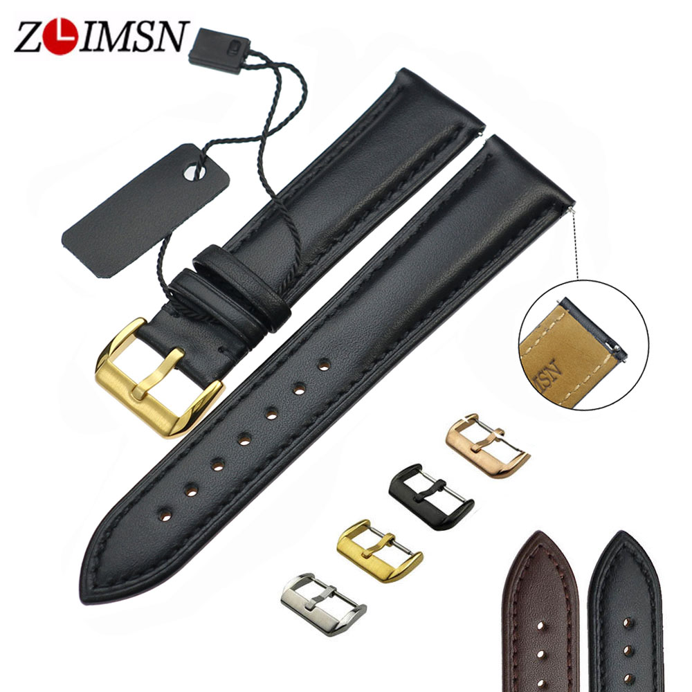 ZLIMSN Real Leather Watchband Black Brown Smooth Women