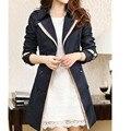 Diseño doble de Breasted Trench para mujeres dan vuelta abajo del resorte más tamaño abrigo delgado casaco feminino