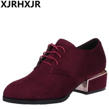 XJRHXJR Spring Autumn British Style Women Shoes Fashion Lace Up Thick Low Heel Casual Shoes Pointed Toe Black Wine Color BigSize