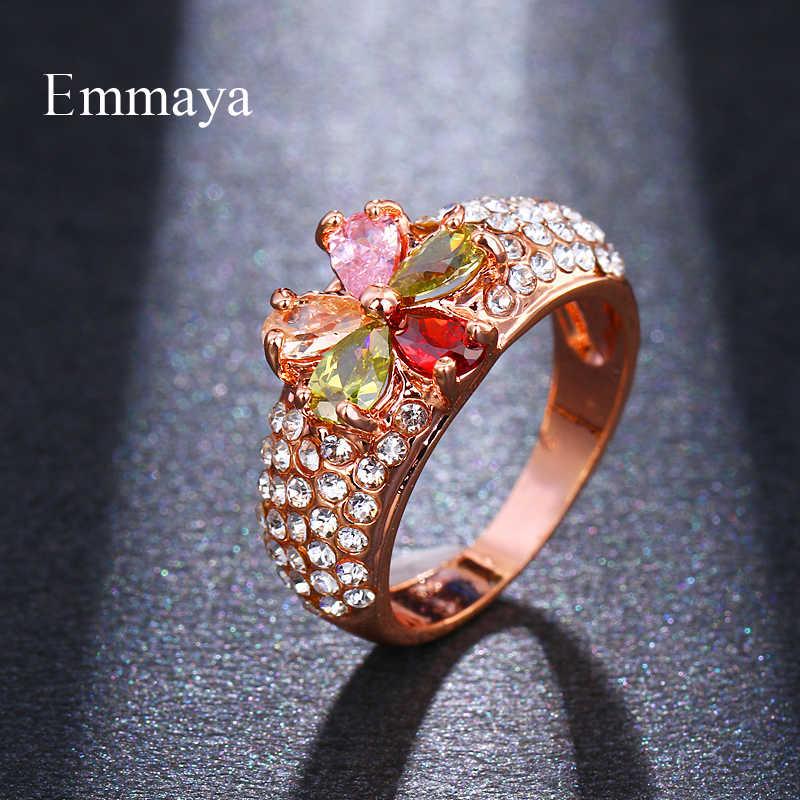 Emmaya Elegant Multicolor Zircon แหวนเครื่องประดับ Rose Gold สีหมั้นงานแต่งงานแหวนของขวัญ Party