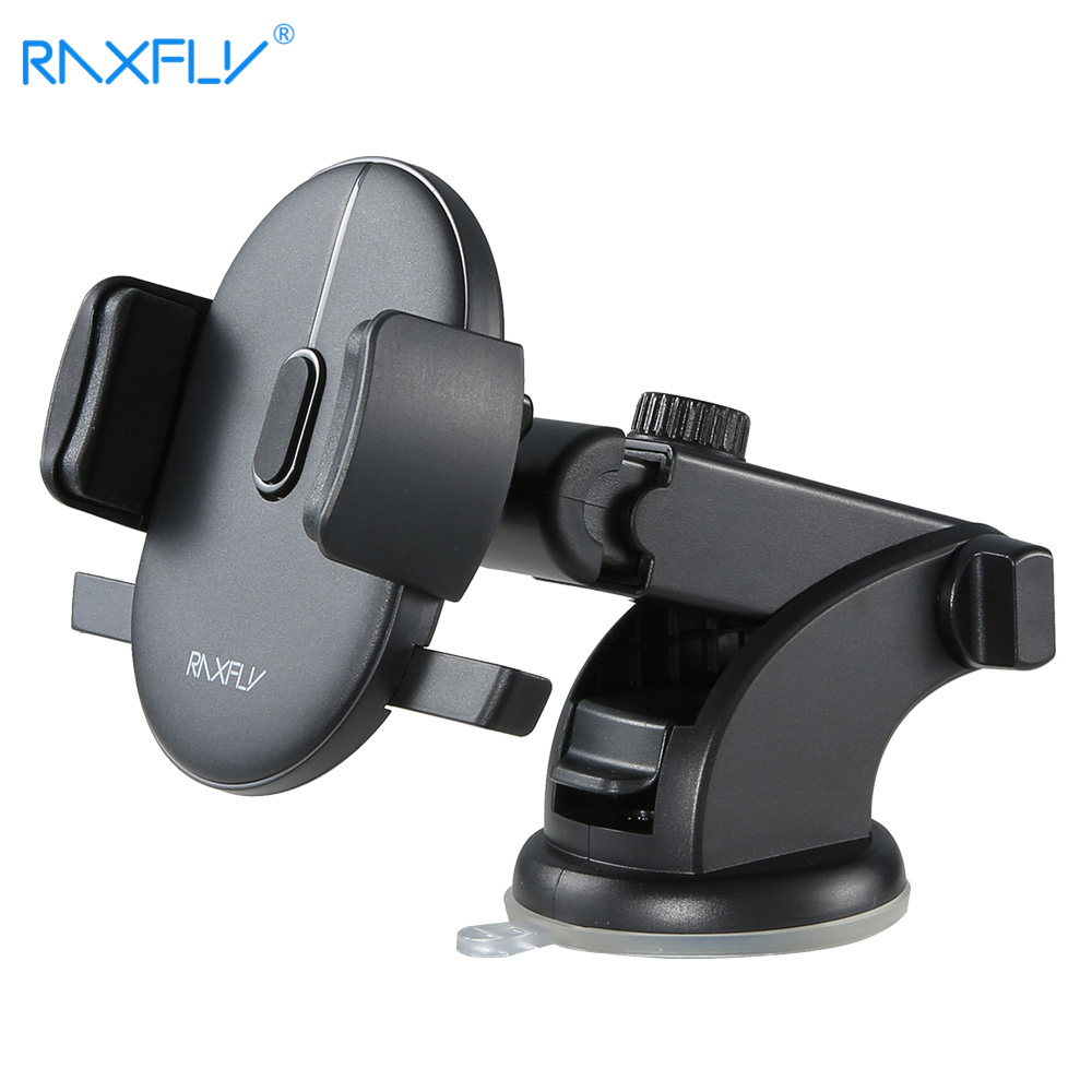 RAXFLY Télescopique Automatique Serrure Support De Voiture 360 Rotation Adsorption Vehicle Mount Support De Voiture Support de Téléphone Pour Samsung S9 Plus
