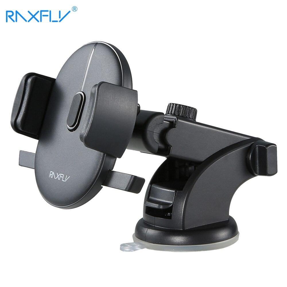 RAXFLY Telescopic Automatic Lock Car Holder 360 Rotation Adsorption Vehicle Mount Bracket Car Phone Holder For Samsung S9 Plus