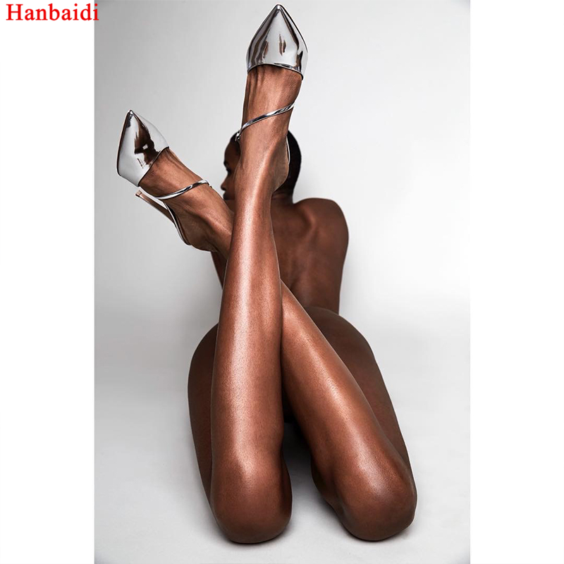 цена на Hanbaidi Gold Sliver Soft Leather Women Stiletto High Heels Pumps Sexy Ankle Strap Party Dress Sandals Runway Celebrity Shoes 9