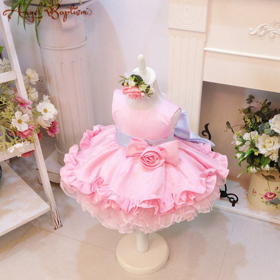 c5ba5f013 Short ball gown kids floral cupcake dresses pink ruffles infant baby ...