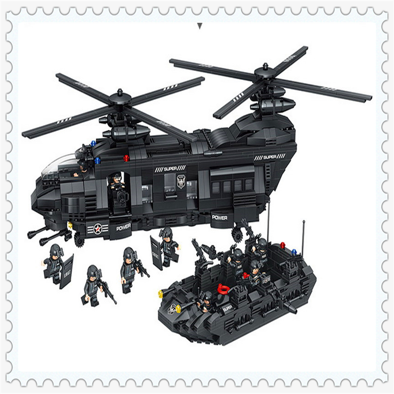 QL0108 Military Army War Special Police Force CH-47 Building Block 1351Pcs Educational Toys For Children Compatible Legoe military army war special police force ch 47 chinook helicopter building blocks sets bricks model kids toys compatible legoe