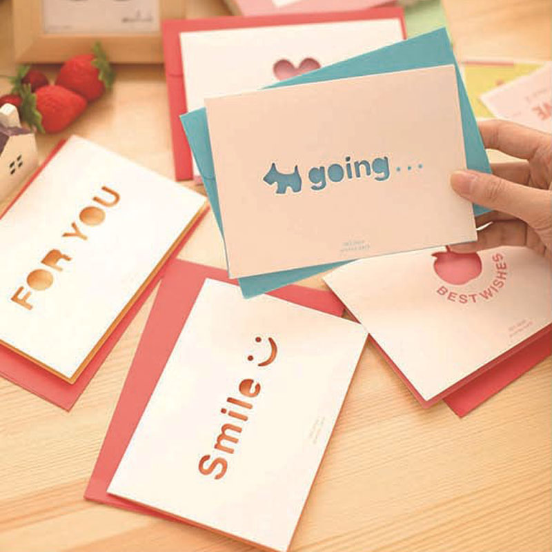 2pc Lot Customize White Paper Laser Heart Greeting Cards
