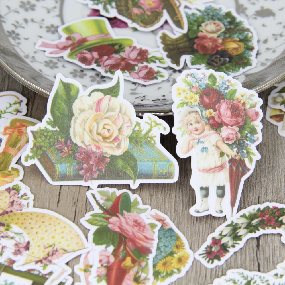 24pcs Self-made Retro Flower Vintage Floral Scrapbooking Stickers Decorative Sticker DIY Craft Photo Albums Decals Diary Deco