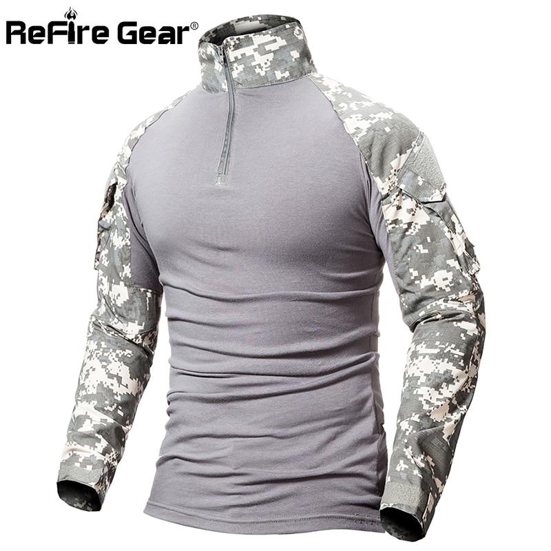 ReFire Gear Tactical Camouflage Military T Shirt Men Multicam US Army Combat Shirt Assault Camo Militar Uniform Airsoft T Shirt 3