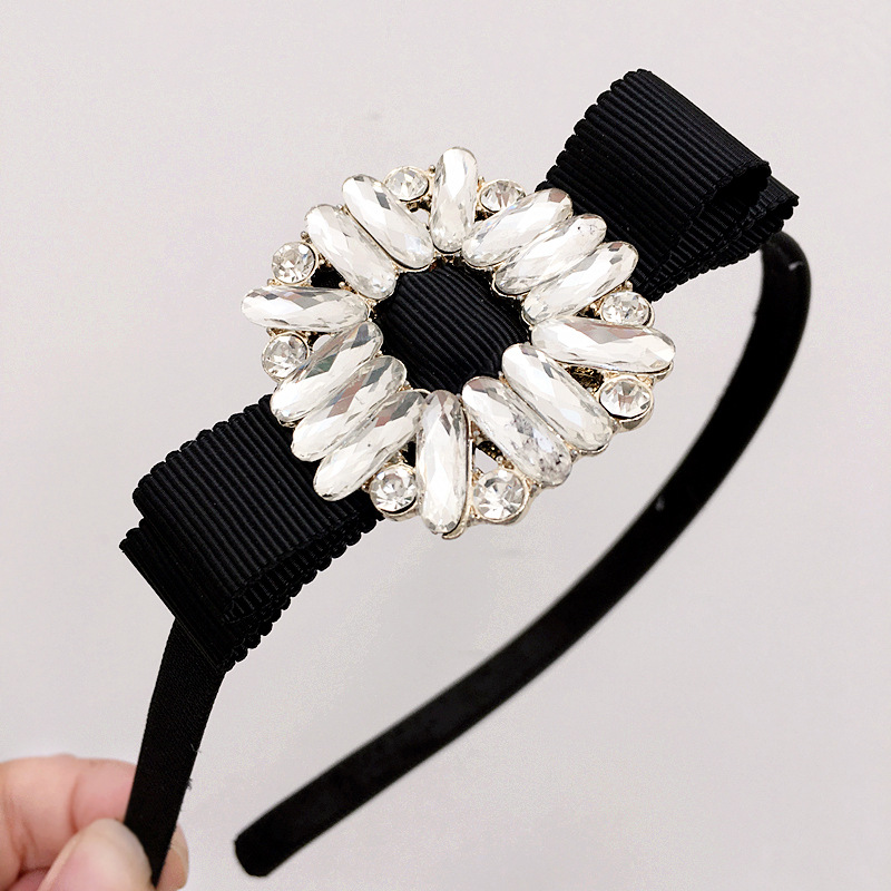 Korea Bilateral Bead Middle Knotted Hairbands Solid Hair Accessories Hairband Crown Headbands For Girls Hair Bows Girl's Accessories
