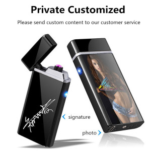 Image 2 - Customize USB Electric Double Arc Lighter Rechargeable Windproof Torch Lighter Cigarette Dual Thunder Pulse Cross Lighter Plasma