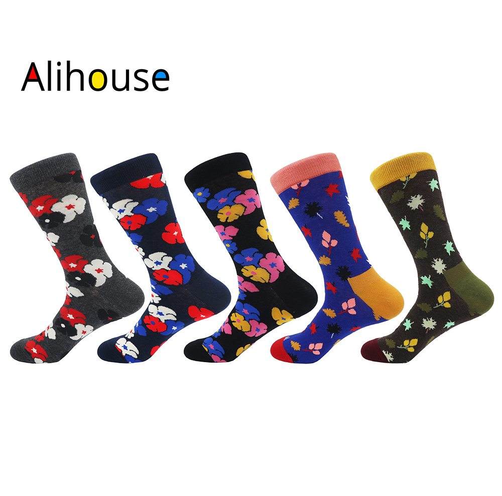 Alihouse 5 pairs/lot Novelty Mens Colorful Combed Cotton Vintage Flowers Casual Crew Dress Socks Unisex