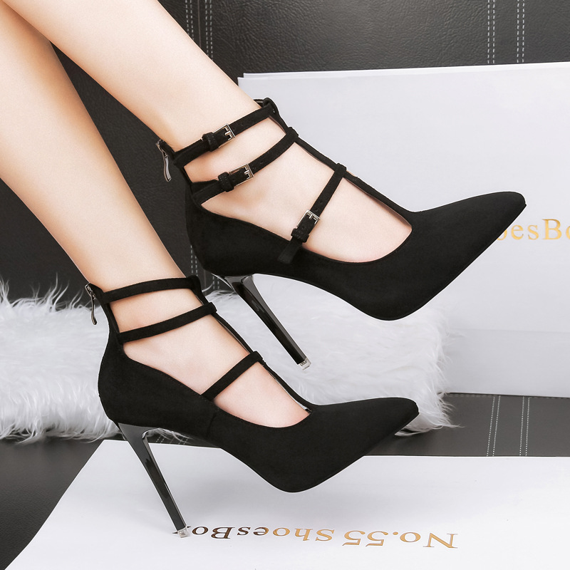 High-heeled shoes female 2018 spring and autumn new wild shallow mouth with sharp pointed T-shaped strap Rome shoes summer shoes 2017 european summer with rome female high heeled sandals a cross strap fish mouth sexy toe lacing shoes fine with large yards