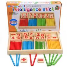 Şekil Blokları Sayma Çubukları Eğitim Ahşap Oyuncaklar Bina Zeka Blok Montessori Matematik Ahşap Kutusu Çocuk Hediye