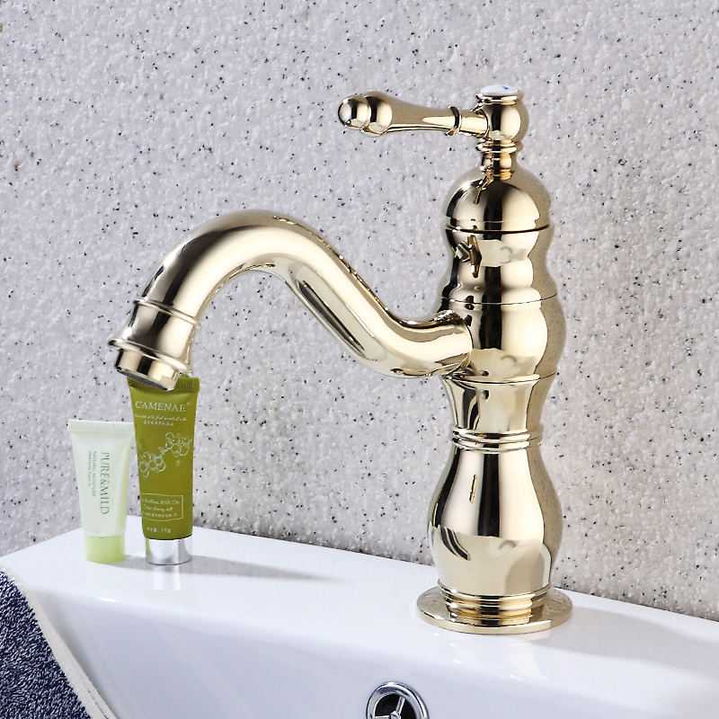 Fapully Basin Faucet Gold Bathroom Taps Deck Mounted Single Handle Br Water Mixer In Faucets From Home Improvement On