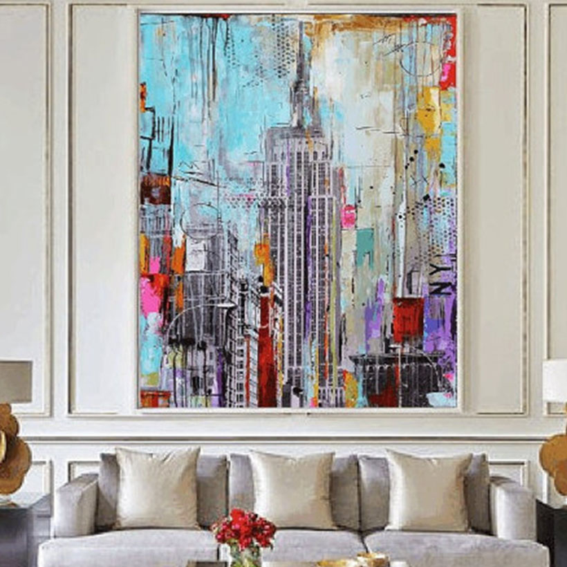 Hand Painted Modern Abstract Oil Painting On Canvas Tall Buis