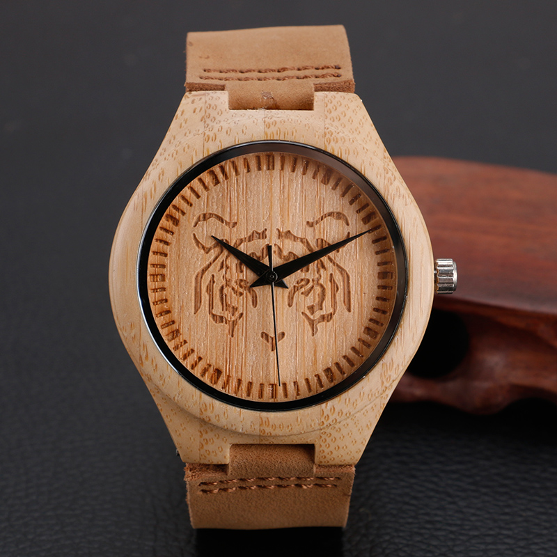 Creative Nature Wood Bamboo Tiger Pattern Quartz Wrist Watch Genuine Leather Band Strap Men Women Casual
