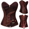 Gothic Steampunk Women Plastic Bone Lace Up Floral Pattern Sexy Bustier Corset