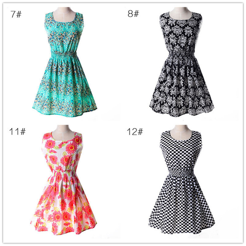 Woman Beach Dress Summer Boho Print Clothes Sleeveless Party Dress Casual Short Sundress Floral Dress Peacock Feathers Dresses (4)