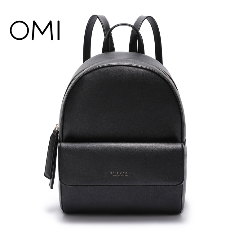 Omi backpack female 2018 new Korean version of the wild student backpack female leisure travel backpack new korean female bag canvas backpack personality badge backpack leisure student schoolbag