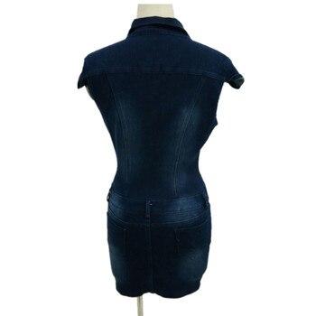 Summer Women's Streetwear Style Sexy Slim Denim Single-breasted Stand Collar Pockets Zipper Dress Bag Hip Dress Nightclub 4