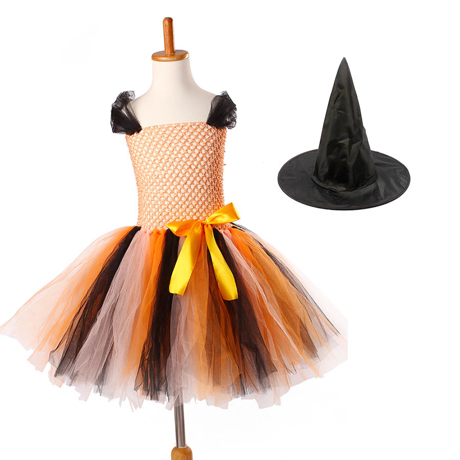 Girls Halloween Carnival Party Tutu Dress Kids Evil Witch Costume Photo Prop with Witch Hat  (14)