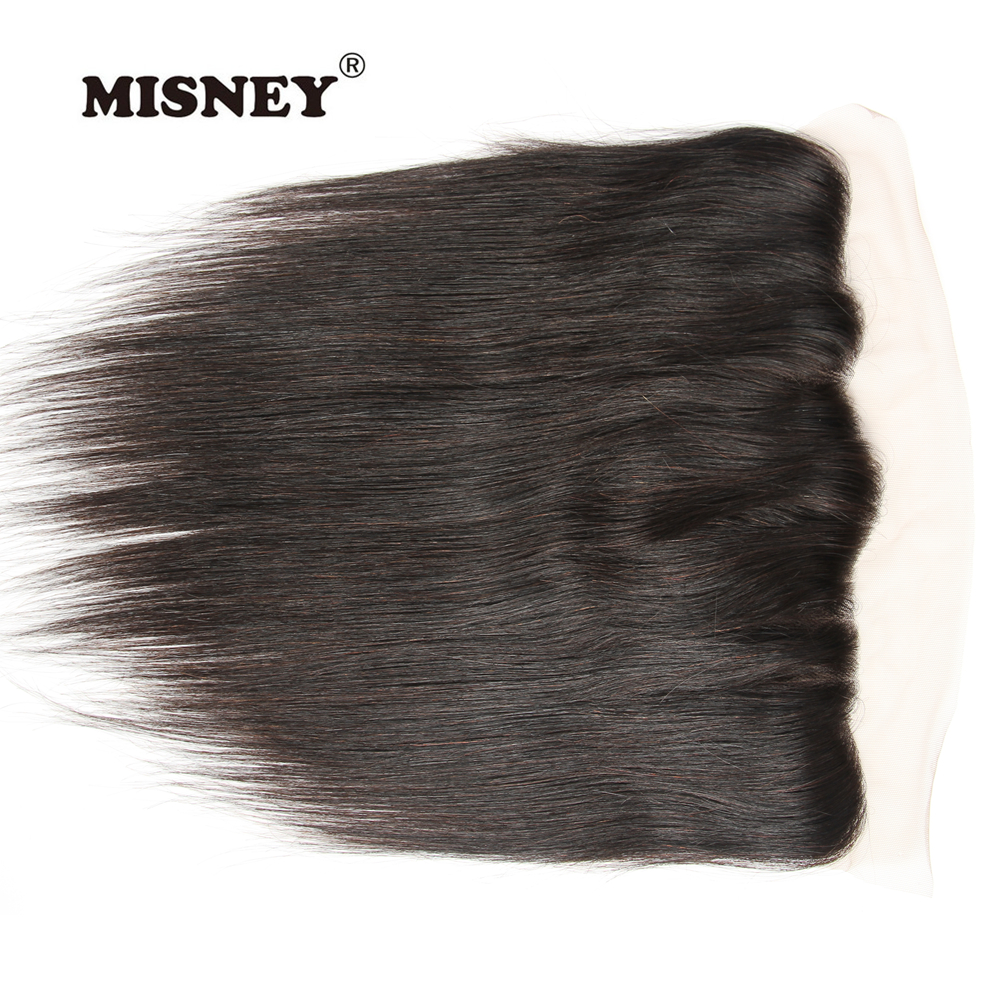 Brazilian Non Remy Hair Lace Frontal 4x13 Brazilian Hair Straight 100% Human Hair Natural Black Color Lace Closure