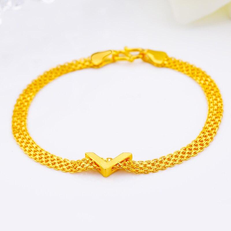 JLZB 24K pur or Bracelet réel 999 solide or Bracelet haut de gamme belle romantique à la mode classique bijoux vente chaude nouveau 2019-in Bracelets et joncs from Bijoux et Accessoires    2