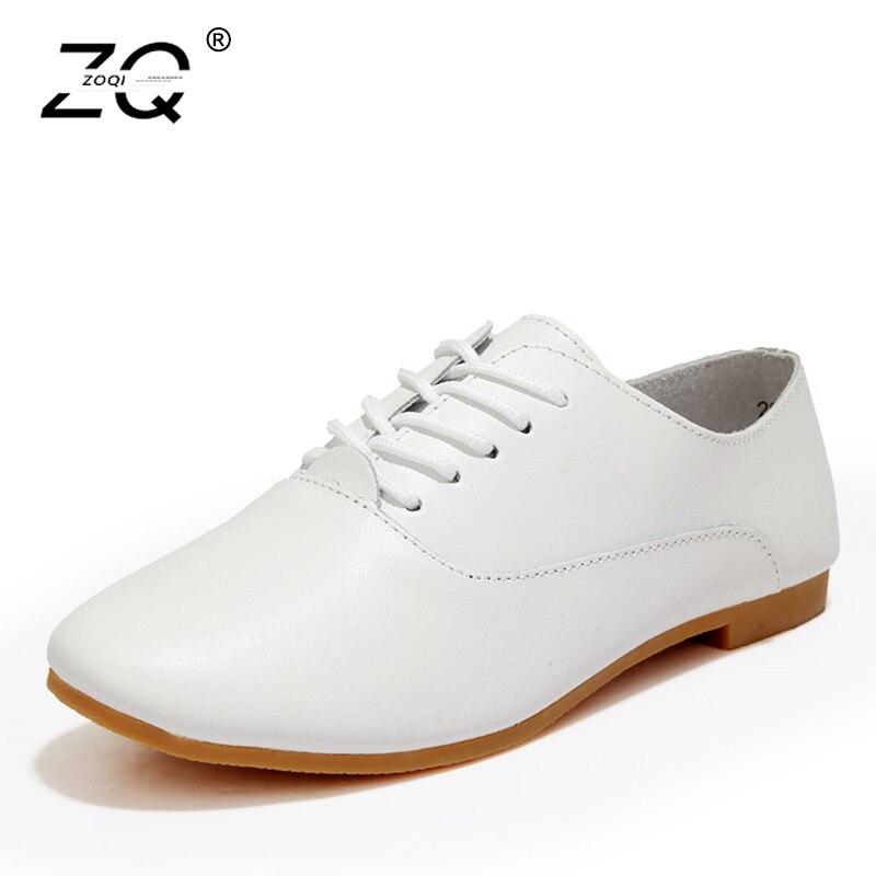 Black forme De Plates Conduite Zoqi Chaussures Plate Des Femme Occasionnels 2018 Dames Zapatos Mujer Nouvelles Véritable Femmes white En Cuir pink 4wCCBUq
