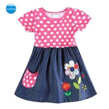 JUXINSU Toddler Kids Girls Summer Short Sleeve Cotton Dresses Casual Flower Large Wave Point Home Wear 1-6 Years