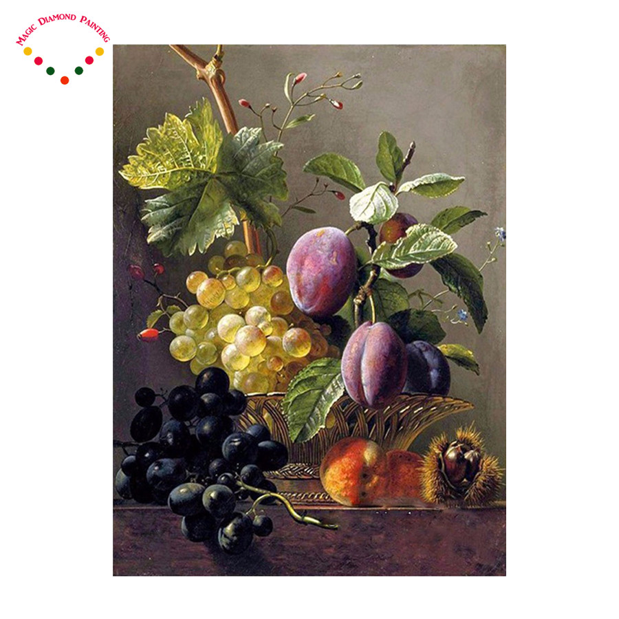 5d Diy Romantic Gift Hand Made Diamond Embroidery Made Diamond Mosaic  Handpainted Painting Fruit Grapes Blueberries Crystal