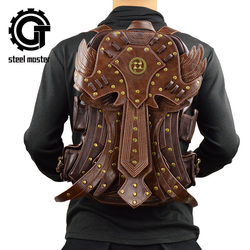 Steampunk Double Backpack Retro Fashion Gothic Retro Rock Bag PU Leather Mens Brown Detachable Wing Backpack Steampunk Double Backpack Retro Fashion Gothic Retro Rock Bag PU Leather Mens Brown Detachable Wing Backpack