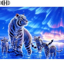 MHD Diamond Embroidery Tiger Mother, Diamond Painting Big Cat Family, Unfinished Knit Stitch, Full Diamond, Frameless Decorative
