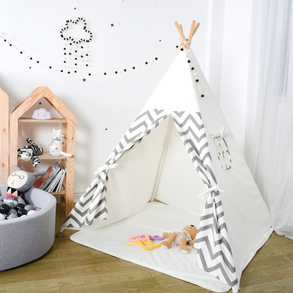 Teepee Kids Tent Toys For Children Playhouse Tipi Tent For Children Wigwam Indoor Outdoor Room Birthday Christmas Gift