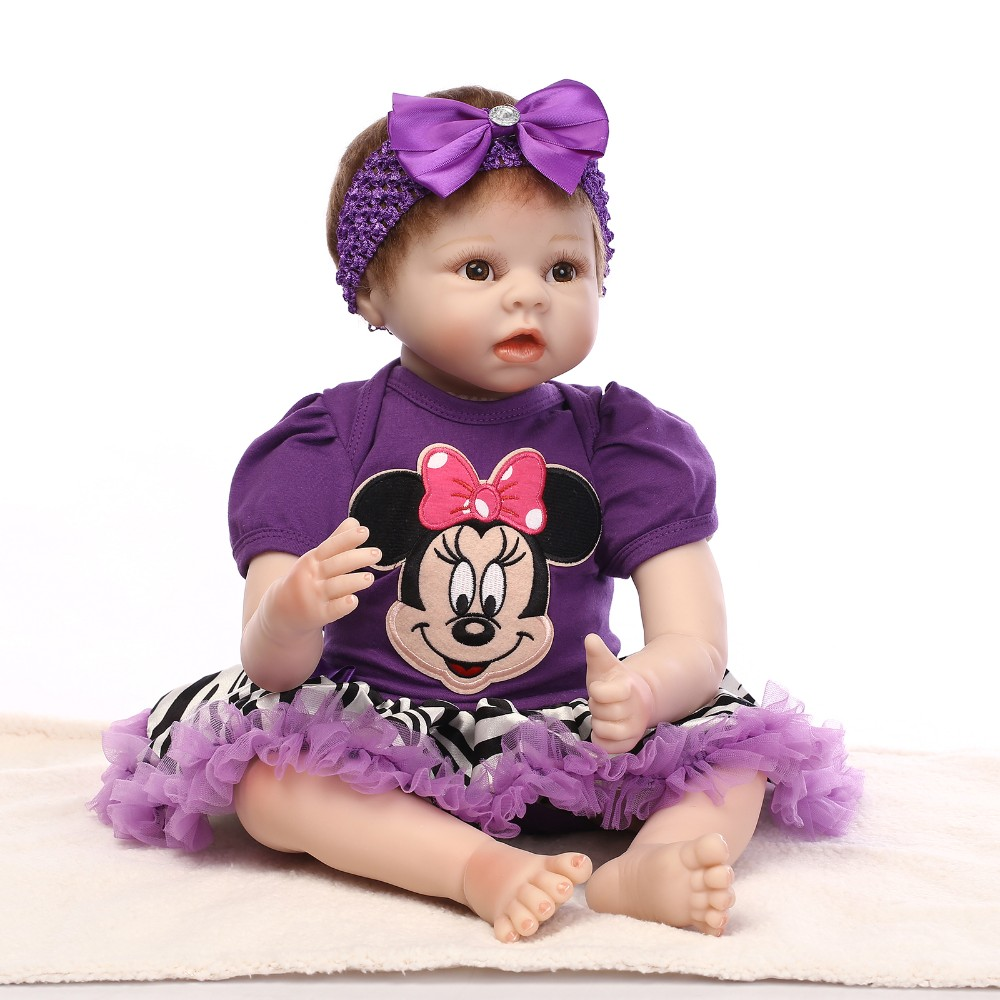 Cute 22in 55cm Black Dress Reborn Baby Doll Soft Silicone Girl Toy