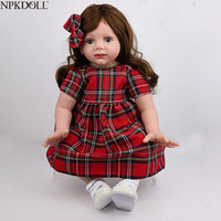 NPKDOLL 24 Inch 60cm Silicone Reborn Baby Girl Doll Alive Toddlers Realistic Lifelike Baby Girl Toys With Long Hair Bebe Reborn