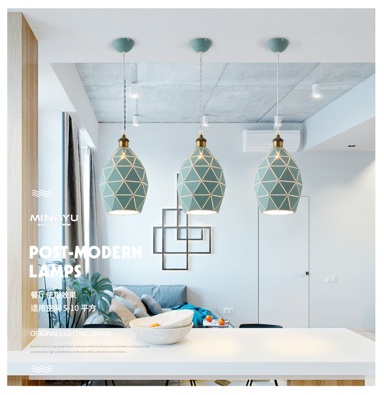 Green Brief Nordic Style Alloy E27 Pendant lights Modern Light LED Cord Lamp Cafe Restaurant Living Room Bedroom chinese style classical wooden sheepskin pendant light living room lights bedroom lamp restaurant lamp restaurant lights