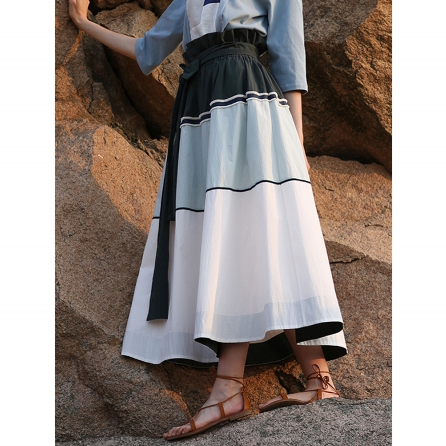 IRINAW088 nouvelle arrivée d'été 2018 conception originale couleur patchwork coton une ligne taille haute ceinturée longue jupe femmes