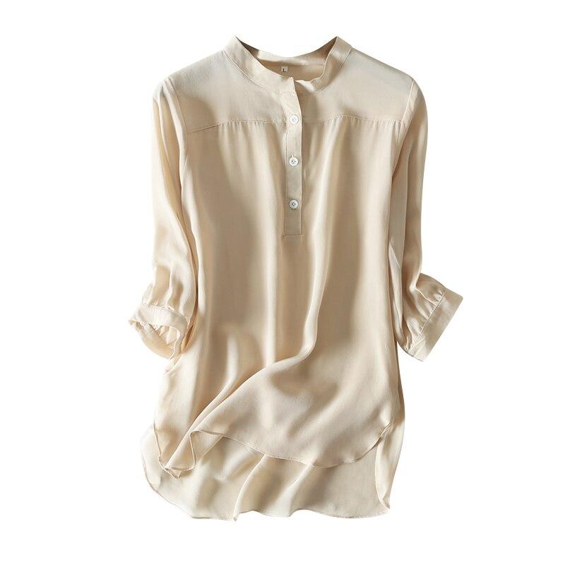 2019 en Najaar drie kwart Mouw Natuurlijke Zijde Shirt office lady shirt-in Blouses & Shirts van Dames Kleding op AliExpress - 11.11_Dubbel 11Vrijgezellendag 1