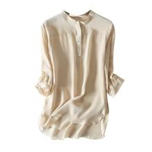 2020 الربيع والخريف ثلاثة أرباع كم قميص حريري طبيعي مكتب سيدة قميص